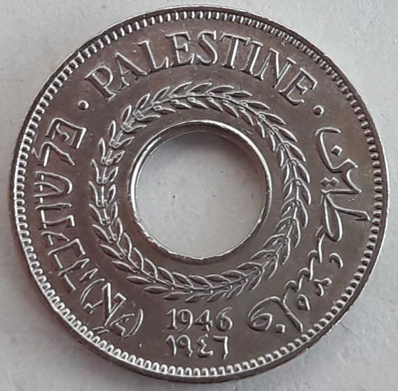 Palestina Moneda Del Año 1946 Y De 5 Mils (3 Idiomas)