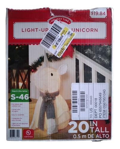 Unicornio Navideño Esponjoso Con Luz Led + Plancha De Regalo