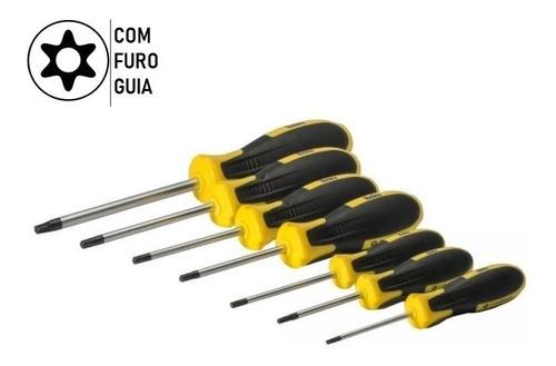Jogo De Chave Torx T10 A T40 C/furo Imantada Cabo Emborrado