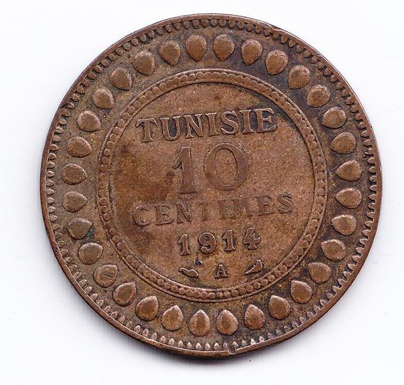 Tunez Moneda 10 Centavos 1914 Bronce Km 236 Vf Muy Bien