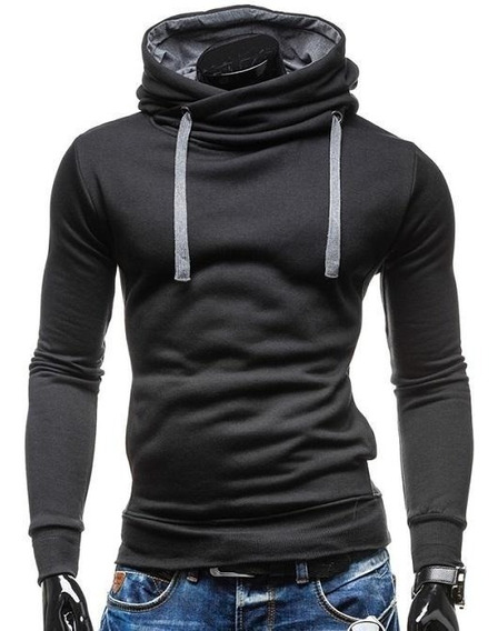 Sweter Slim Fit Unicolor Capucha Cruzada