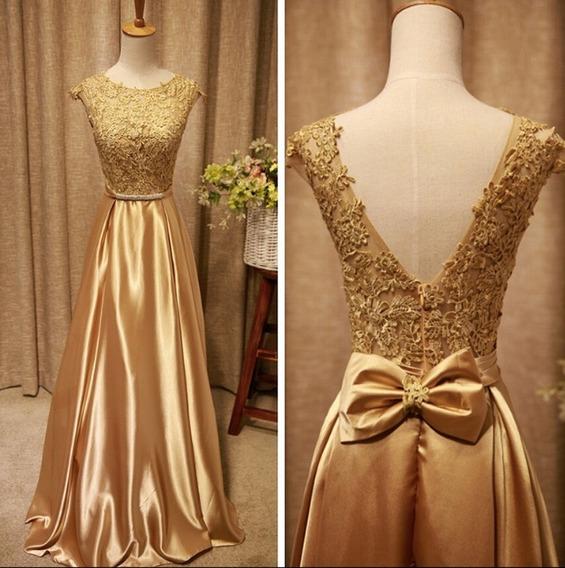 Vestido Longo Em Renda Cetim Dourado Maravilhoso Chique 1066