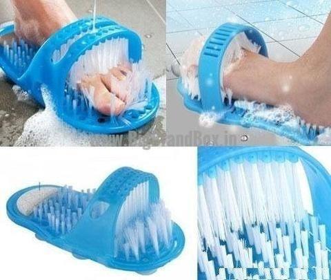 Chinelo Escova Lavar Massagear Pés Banho Pedra Pomes Unisex