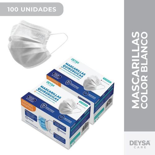 Mascarillas Desechables 50 Un 2 Cajas (100 Un). Color Blanco