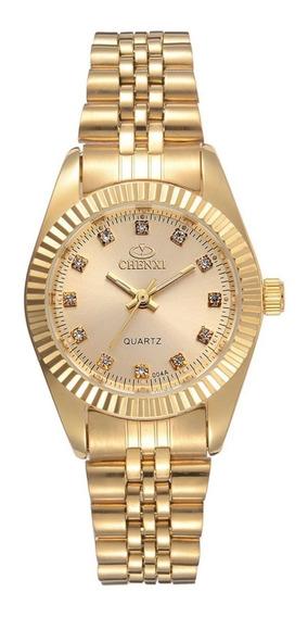 Relógio Dourado Lindo Chenxi Feminino Detalhes Diamante