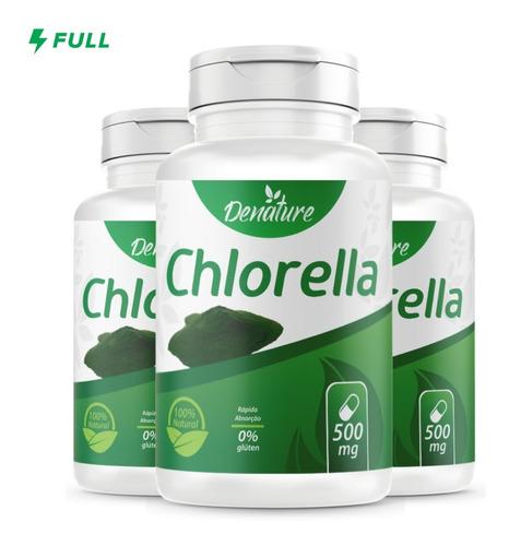 Imagem 1 de 4 de 3x Chlorella 500mg 100 Cápsulas Denature - Clorela