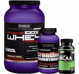 Kit Whey Prostar 900g+ Creatina 300g+ Bcaa 60caps - Ultimate