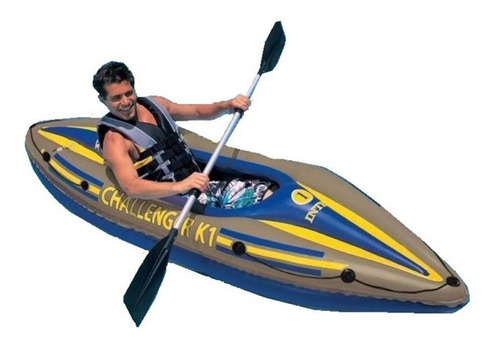 Bote Inflable Kayak Challenger 1 Con Remos Y Bomba Reforzado