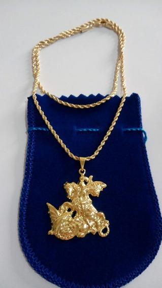 Colar Cordão 45cm Com Pingente De São Jorge Banhado A Ouro