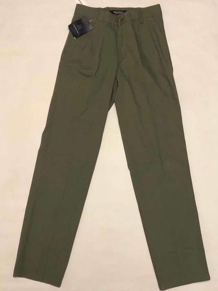 Pantalon Kevingston Pinzado Talle 38 Classic Fit Verde Musgo