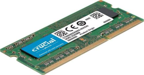 Imagen 1 de 3 de Memoria Ram Crucial 8 Gb Sodimm 12800 Ddr3l 1600 Mhz 1.35v