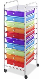 Carro Organizador Multiusos Ruedas Con 10 Cajones De Colores