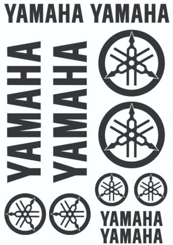 Imagem 1 de 1 de Cartela Adesivos Yamaha + Emblema (12 Unidades) + Brinde