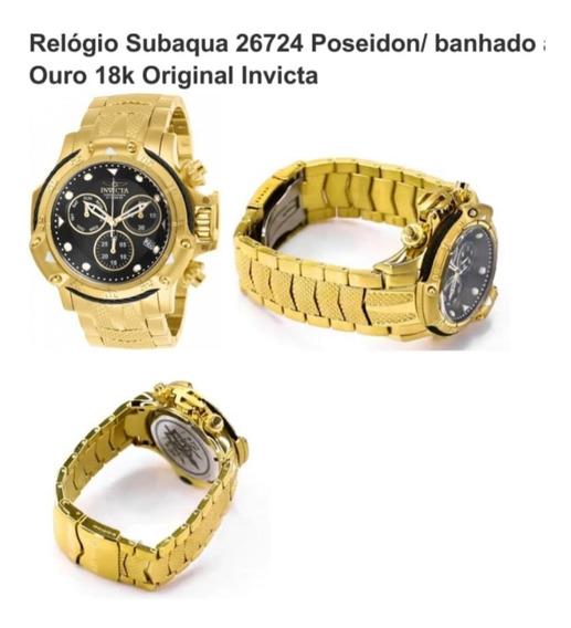 Relogio Subaqua 26724 Poseidon/ Banhado A Ouro Invicta