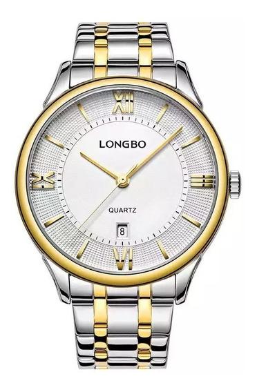 Relógio Longbo Masculino Prata Social Casual Luxo Original