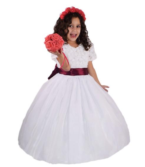 Vestido Dama De Honra Florista Com Faixas Cores E Luva