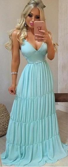 Vestido Festa Verde Tiffany Madrinha Casamento Lindo Decote