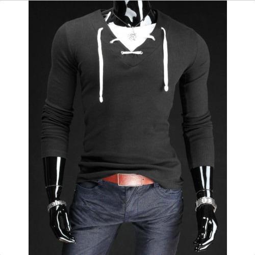Camiseta Para Hombre Cuello En V Cordón Manga Larga