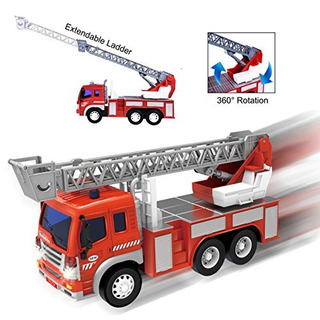 Friction Powered Firefighter Rescue Fire Truck 1:16 Vehícul