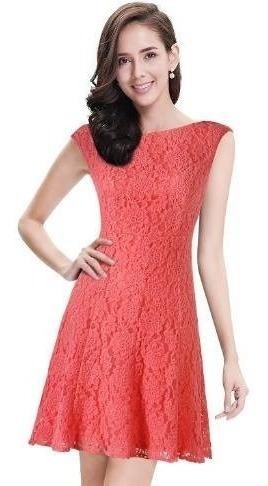 Vestido Em Renda Importado Alisa Pan Coral Pronta Entrega
