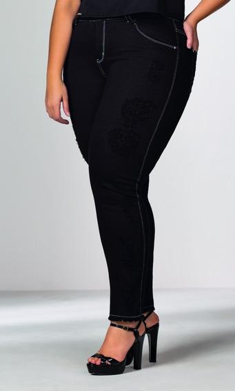 Calça Jeans Elegance Color Preta Com Puídos Com Frete Grátis