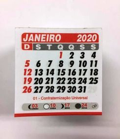 100 Bloquinho Geladeira 2020 5x5 Cm Mini Calendário Mensal