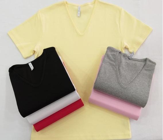 Camiseta / Remera Mujer X 12 (docena) Escote V Lisa Algodón