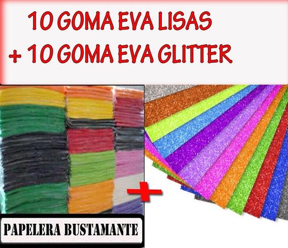 20 Planchas Goma Eva 10 Lisas + 10 Con Brillo Glitter