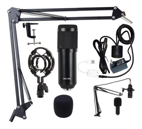 Imagen 1 de 2 de Kit Microfono Condensador Bm800 Usb, Podcast Canto Streaming