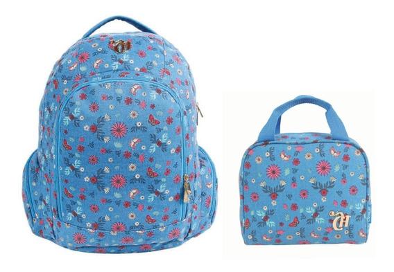 Kit Mochila Feminina Capricho Azul Floral Flores Original