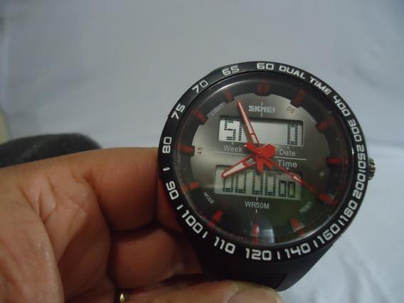 Relógio Masculino Skmei Anadigi 1066 - Preto E Vermelho