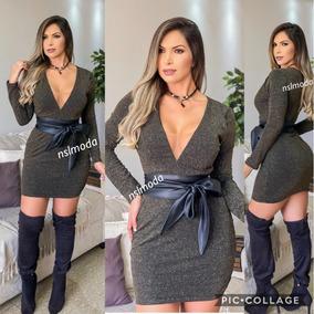 Vestido Feminino Curto Balada Brilho Acompanha Cinto Lurex