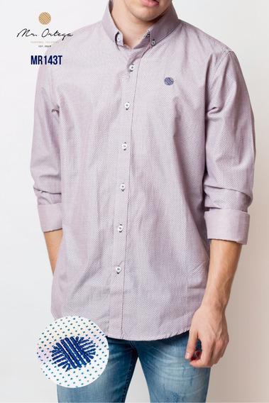 Camisa Mr. Ortega Caballero Algodón Rosa Bajo Estamp Mr.143t
