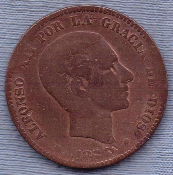 España 10 Centimos 1877 * Alfonso Xii * Escudo *