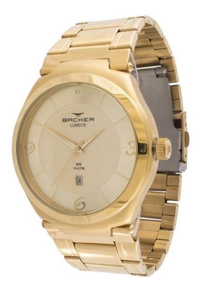 Relógio Backer Feminino Dourado Aço 6311275m Ch