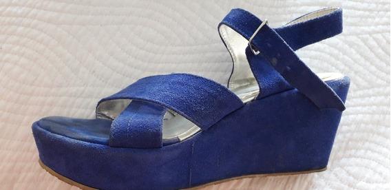 Sandalias Azul Francia Nro.40 Gamusadas