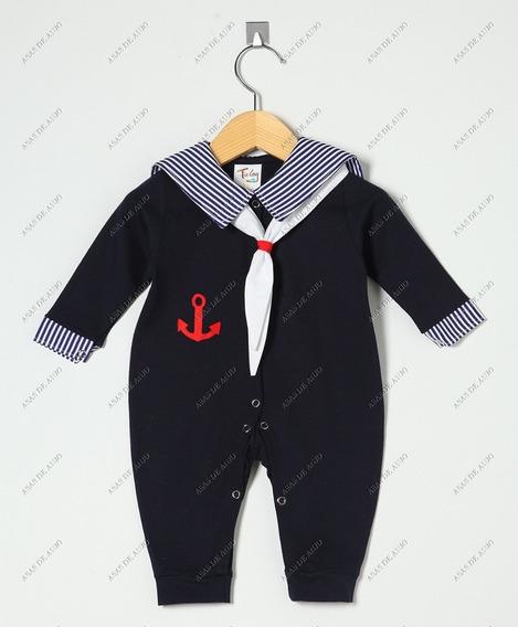 Macacão Marinheiro Azul Marinho Longo - Enxoval Bebê Menino