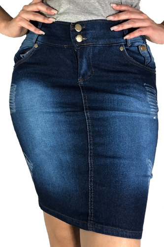 Kit 10 Saia Jeans Evangelica Midi Com Lycra Atacado Variadas