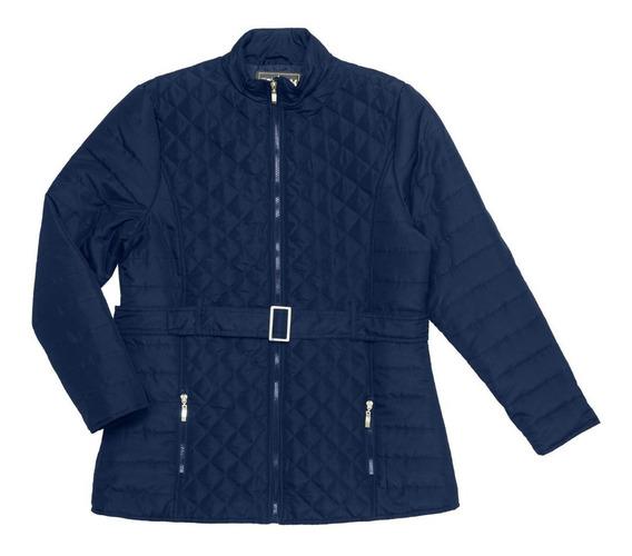Jaqueta Feminina Azul Com Cinto Plus Size Rovitex Plus