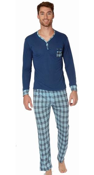 Pijama Para Hombre Playera Manga Larga Pantalon Azul 100061