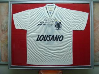 Camisa Futebol Santos Sp Pelé Autografada Raridade 875