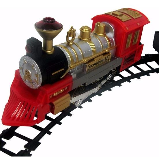 Trem A Pilhas Locomotiva Máquina Pista Braskit