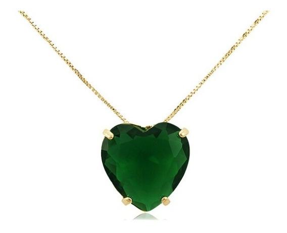 Colar Semi Joia Coração Verde Esmeralda Banhado Ouro 18k