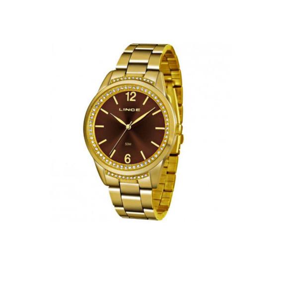 Relogio Feminino Dourado Lince Caixa Com Pedras Lrgj075l N2