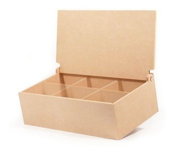 Caja De Té 6 Divisiones Tapa Lisa Fibrofacil - Oferta X6 !