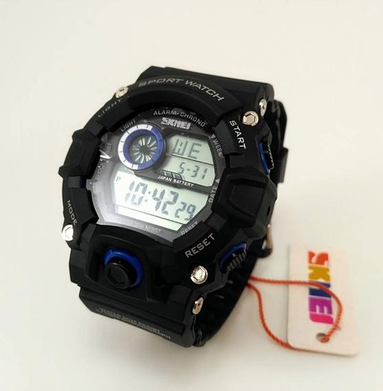 Relógios Digital Skmei Azul E Preto Pulseira De Borracha