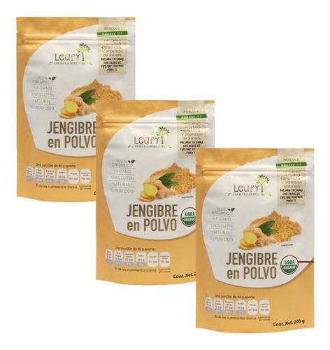 Imagen 1 de 7 de Jengibre Orgánico En Polvo Superfood Leafy 3 Pack 600 Gramos