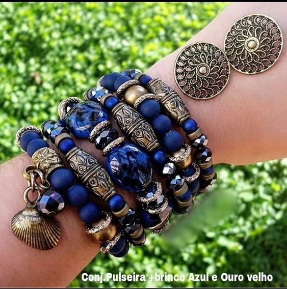 Pulseiras Conjunto De Pulseiras Cor Azul E Ouro Velho/frete