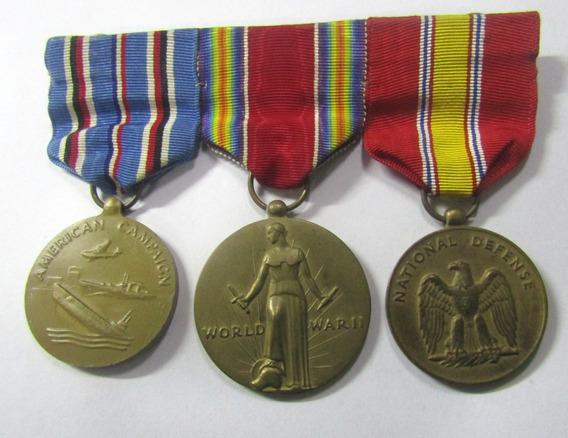 Usa 1945 Pasador 3 Condecoraciones Merito 2 Guerra Mundial