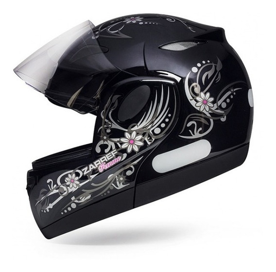 Capacete De Moto Feminino Robocop Zarref Femme Preto